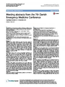 Meeting abstracts from the 7th Danish Emergency Medicine Conference