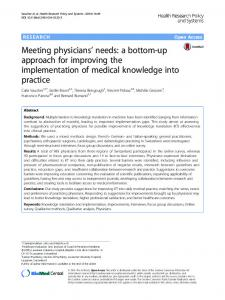 Meeting physicians' needs: a bottom-up approach for ... - Springer Link