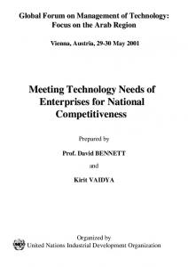 Meeting Technology Needs of Enterprises for National ... - UNIDO