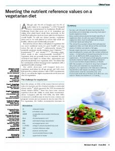 Meeting the nutrient reference values on a vegetarian diet