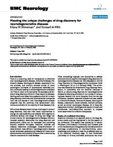 Meeting the unique challenges of drug discovery for ... - Springer Link