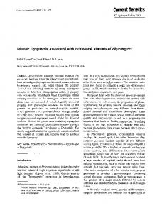 Meiotic dysgenesis associated with behavioral mutants of - Springer Link