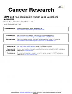 Melanoma BRAF and RAS Mutations in Human Lung ...
