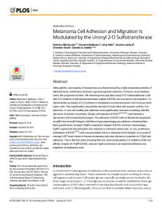 Melanoma Cell Adhesion and Migration Is ... - Semantic Scholar
