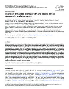 Melatonin enhances plant growth and abiotic stress ... - Oxford Journals