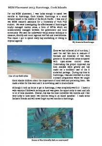 MEM Placement 2013: Rarotonga, Cook Islands - University of York