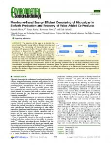 Membrane-Based Energy Efficient Dewatering of ... - ACS Publications