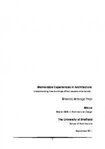 Memorable Experiences in Architecture - Home : MAAD - University ...