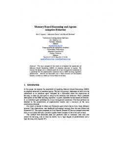 Memory Based Reasoning and Agents Adaptive Behavior