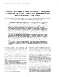 Memory Dysfunction in Multiple Sclerosis ... - Semantic Scholar