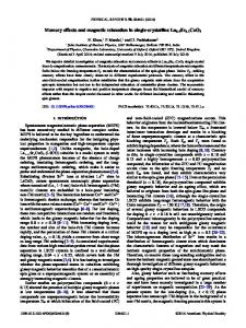 Memory effects and magnetic relaxation in single ... - APS Link Manager