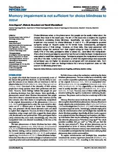Memory impairment is not sufficient for choice ... - BioMedSearch