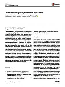 Memristive computing devices and applications