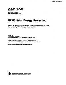 MEMS Solar Energy Harvesting - Sandia National Laboratories