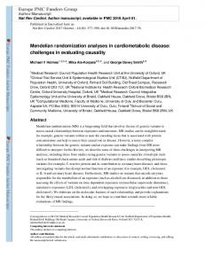 Mendelian randomization analyses in ...