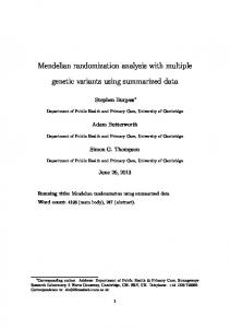 Mendelian randomization analysis with multiple