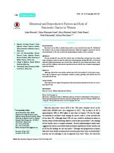Menstrual and Reproductive Factors and Risk of Pancreatic Cancer in ...