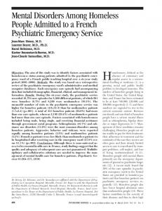 Mental Disorders Among Homeless People Admitted to a ... - IReSP