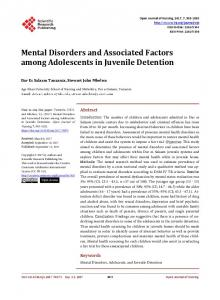 Mental Disorders and Associated Factors among Adolescents in ...