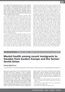 Mental health among recent immigrants to Sweden from Eastern ...