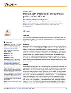 Mental health among single and partnered parents