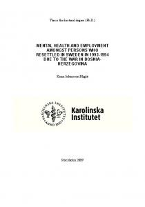mental health and employment amongst persons ... - KI Open Archive