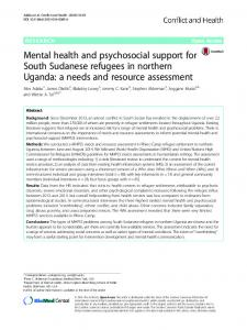 Mental health and psychosocial support for South ... - Conflict and Health