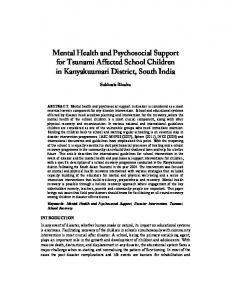 Mental Health and Psychosocial Support for Tsunami Affected School ...