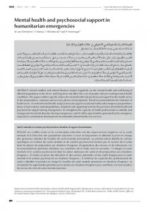 Mental health and psychosocial support in humanitarian emergencies