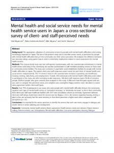 Mental health and social service needs for mental health ... - Core