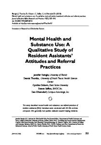 Mental Health and Substance Use: A Qualitative ...