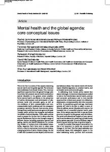 Mental health and the global agenda - Mental Health and Family ...