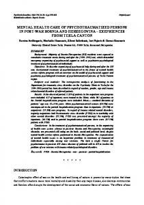 mental health care of psychotraumatized persons in post-war bosnia ...