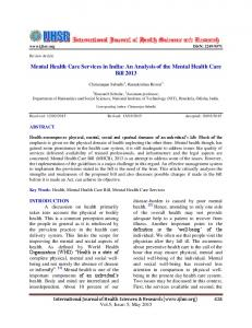 Mental Health Care Services in India - International Journal of Health ...