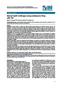 Mental health challenges among adolescents ... - Semantic Scholar