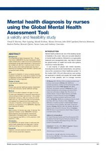 Mental health diagnosis by nurses using the Global Mental Health ...