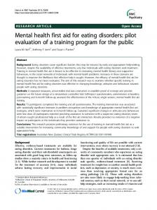 Mental health first aid for eating disorders: pilot ... - BMC Psychiatry