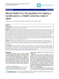 Mental Health First Aid guidelines for helping a ... - BioMedSearch