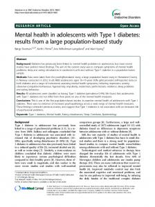 Mental health in adolescents with Type 1 diabetes - BioMedSearch
