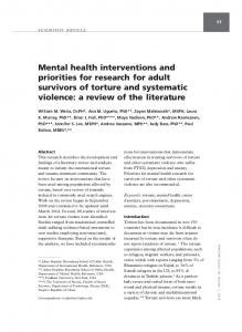 Mental health interventions and priorities for research for adult ...