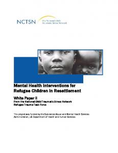 Mental Health Interventions for Refugee Children in ... - NCTSN