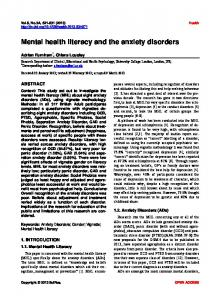 Mental health literacy and the anxiety disorders - Scientific Research ...