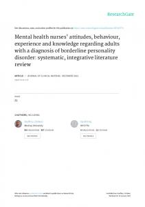 Mental health nurses' attitudes, behaviour, experience