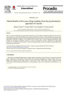 Mental Health of First Year College Students from the ... - Gredos
