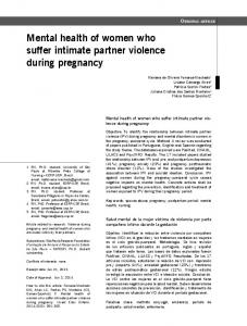 Mental health of women who suffer intimate partner violence during ...