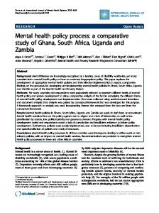 Mental health policy process: a comparative study of ... - Springer Link