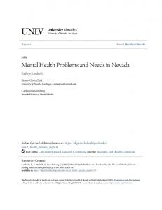 Mental Health Problems and Needs in Nevada - Core