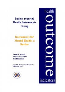 Mental Health Review - Patient-Reported Outcomes Measurement