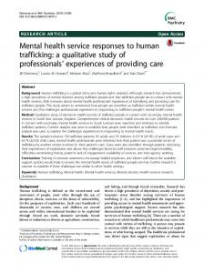 Mental health service responses to human trafficking - BMC Psychiatry