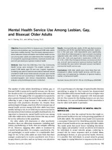 Mental Health Service Use Among Lesbian, Gay ... - Psychiatric Services